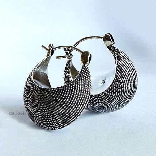 - Hobo Earrings Crescent Shape Bali Sterling Silver earrings AE13