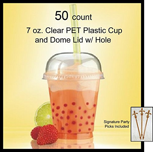 (50 Count 7 oz. Clear PET Plastic Cup and Dome Lid w/Signature Party Picks)