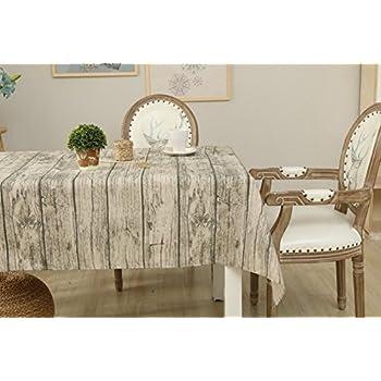 Delightful Vintage Wood Grain Tablecloth,ROGERRAY Cotton U0026 Linen Rustic Rectangle  Washable Table Covers Bark Grain