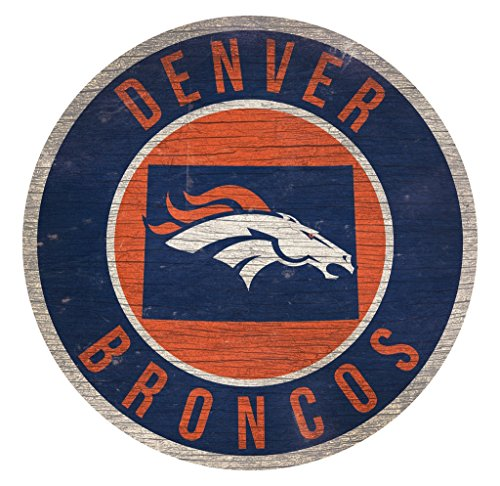 Fan Creations Denver Broncos Wood Sign 12 Inch Round State Design