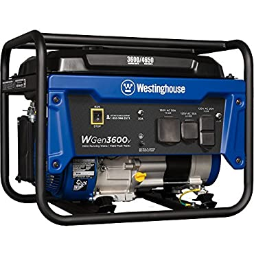 Westinghouse WGen3600v Portable Generator 3600 Rated Watts & 4650 Peak Watts Gas Powered CARB Compliant
