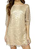 Joeoy Women's Metallic 3/4 Sleeve Wave Gold Shift Party Dress with Scallop Edge-XXL