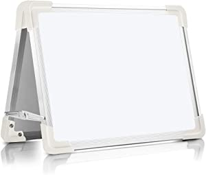 Magnetic Dry Erase Board for Kids, OUSL 1612'' Small Desktop Foldable Reminder Board Magnet White Board Double-Sided Portable Whiteboard Easel for Children (16X12'')
