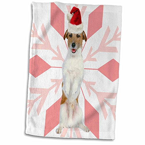 3dRose Jack Russell Terrier Jtr Dog Red Santa Hat with Christmas Snowflakes Towel, 15