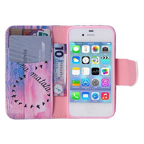 iPhone 4 / 4S Coque , Apple iPhone 4/4S Coque Lifetrut® [ rêve étoile ] Luxe Premium Portefeuille Flip mignon Coque TPU souple Folio en cuir PU intégré dans la carte Slots Coque Etui pour Apple iPhone