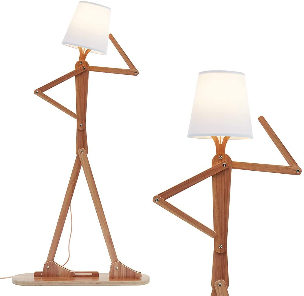 HROOME Modern Contemporary Decorative Wooden Floor Lamp Light with Fold  White Fabric Shade Adjustable Height Standing Light for Living Room Bedroom