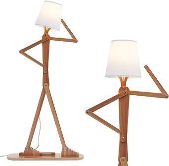 hroome decorativa de madera lámpara de pie luz moderno y contemporáneo con pliegue blanco pantalla de