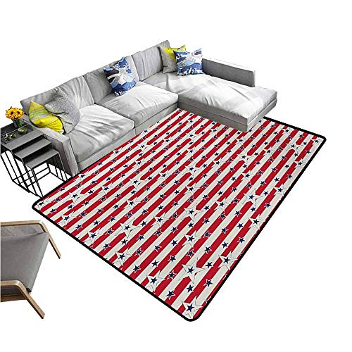 "Outdoor Kitchen Room Floor Mat USA,Patriotic Pattern Love My Country Continent American Federal Freedom Image,Coconut Navy Blue Red 80""x 120"",Bath Rugs for Bathroom"