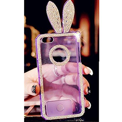 EVTECH (TM) pour iPhone 5 Smartphone (10,2 cm (4 Zoll) Bunny oreille de lapin 3D Case main Crystal Fashion strass Bling Cover TPU Soft Case Effacer (100% fait main)