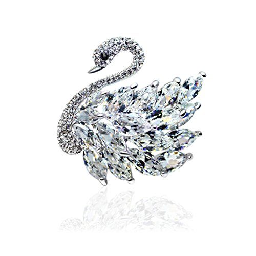 - Tagoo Noble Peacock Bird Swan Vintage Monkey Seahorse Dolphin Snoopy Animal Brooches Pins Corsages Scarf Clips in Crystal Unisex Women&Men (Elegant Swan CZ Clear 1.57