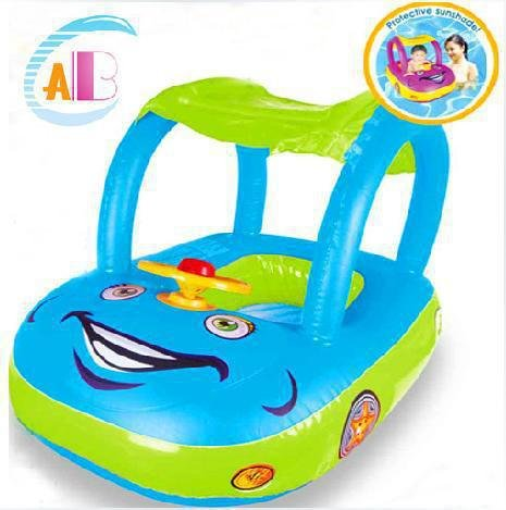 Creative Lovely Inflatable Baby Float Seat Boat Swimming Pool Tube Ring Car Kid Boat (Color randomly send)