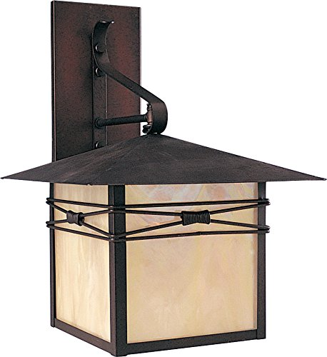 Maxim 8042IRBU Taliesin 1-Light Outdoor Wall Lantern, Burnished Finish, Iridescent Glass, MB Incandescent Incandescent Bulb , 100W Max., Dry Safety Rating, Standard Dimmable, Glass Shade Material, 5750 Rated Lumens