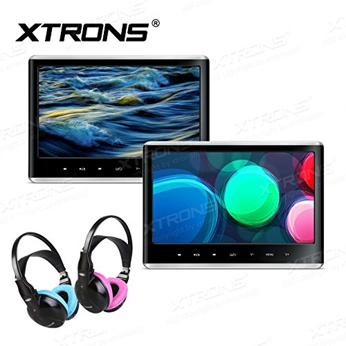 XTRONS 2 x 11.6 Inch 1 Pair Touch Panel Full HD Display 1080P Video Car Active Headrest Mounted DVD Player Games AV in/Out HDMI Children IR Headphones(Blue&Pink)