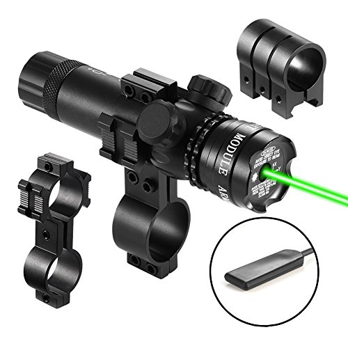 Lirisy Tactical Green Laser Sight, 532nm Green Dot Rifle Scope Sight w/ Picatinny Rail & Barrel Mount Cap Pressure Switch Laser