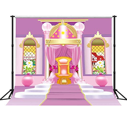 GESEN Pink Castle Backdrop 10X10ft Barbie Princess Palace Photography Background for Parties Video Studio Props Room Mural PGGE121