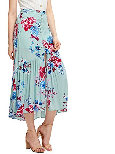Milumia Women's Bohemian Floral Print Wrap Skirt Long Maxi Skirt Blue Large