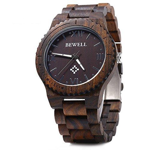 Bewell W065A Lightweight Vintage Wooden Watch Men Quartz Luminous Pointers Wrist Watch (Ebony Wood)