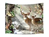 JAWO Natural and Pastoral Style Animal Deer Tapestry Wall Hanging Decoration, Sunshine Creek and Magic Forest, Wall Tapestry for Dorm Living Room Bedroom, Wall Blanket Wall Decor Wall Art Home Decor