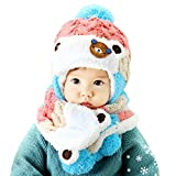 Bigban Baby Boys Girls Cute Cozy Cartoon Hats Baby Hats Scarf Winter Autumn (Pink)