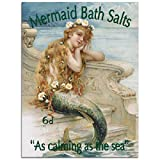 Mermaid Bath Salts Metal Sign: Surfing and Tropical Decor Wall Accent