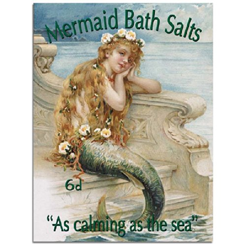 Mermaid Bath Salts Metal Sign: Surfing and Tropical Decor Wall Accent from OMSC