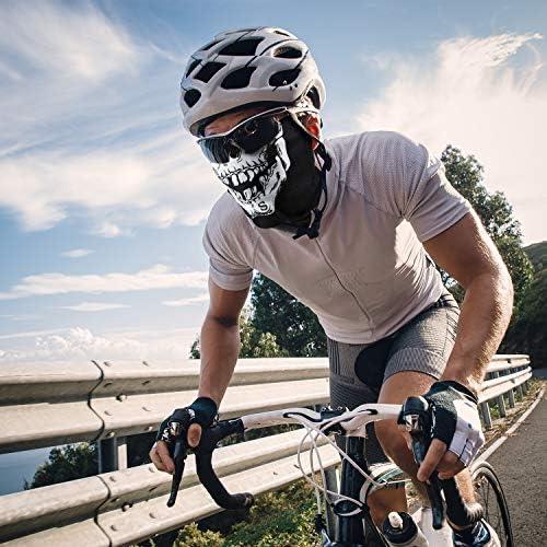 Tatuo 3 Pezzi Cranio Maschera Viso Mezzo Parasole Antipolvere Tubo Maschera Durevole Bandana Scheletro Visiera Viso Scudo Moto Pesca Caccia Ciclismo Equitazione Festival Collo Ghetta