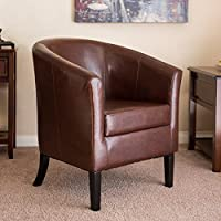 Best Choice Products Modern Barrel Club Accent Arm Chair w/ Stain and Fade Resistant Vinyl (Brown)