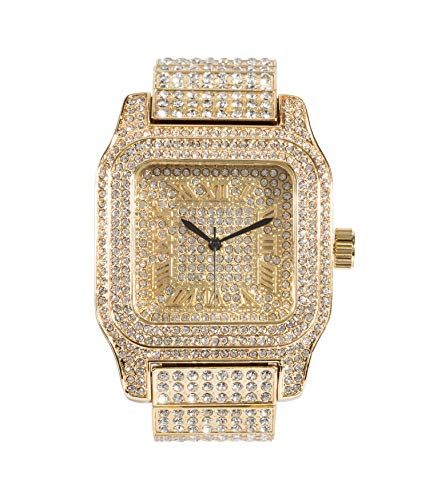 - Mens Hip Hop Bling-ed Out Huge Square Dial Watch with Simulated Diamond Crystals