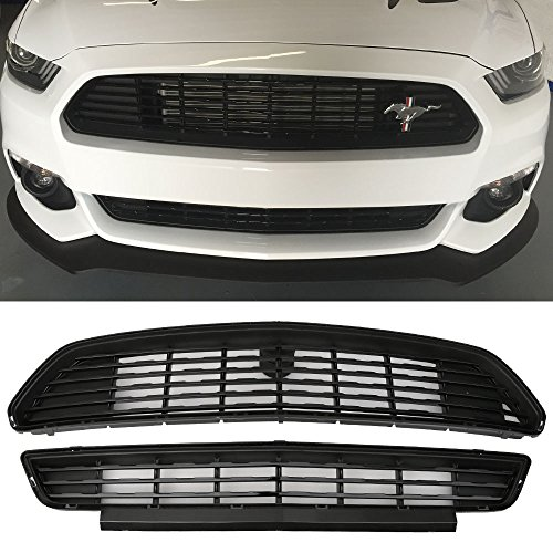 Ford Mustang Front Grill - Grille Fits 2015-2017 Ford Mustang | CS Style ABS Black Front Bumper Grill Hood Mesh by IKON MOTORSPORTS | 2016