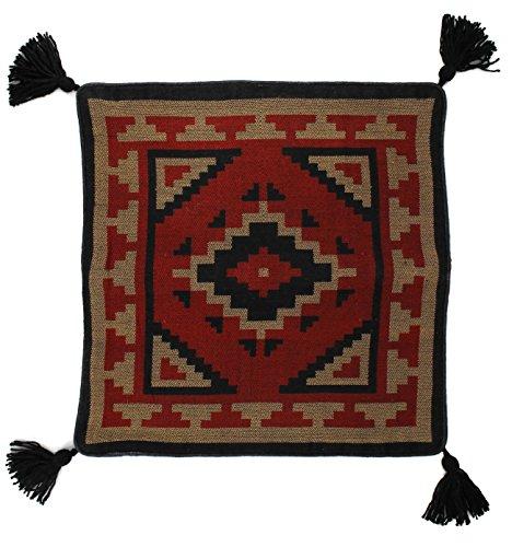 Southwest Tribal Woven Red Tan Brown Diamond 18 x18 Pillow Cover