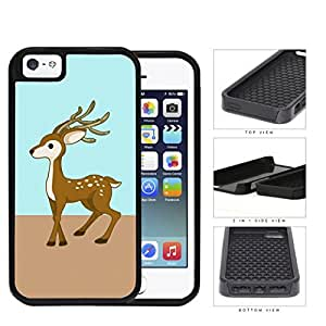 Cute Deer on Mint and Light Brown Block Background iPhone 5 5s 2-piece Dual Layer High Impact Black Silicone Cover
