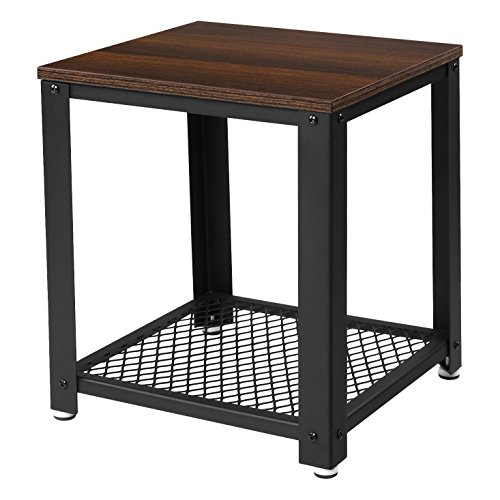 SONGMICS 2-tiered End Table Square-Frame Side Table with Metal Grate Shelf Black Walnut ULET41K (Frame Table Iron)