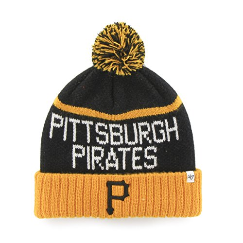 47 MLB Pittsburgh Pirates Linesman Cuff Knit Hat with Pom, One Size Fits Most, Black