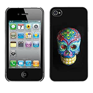 Shell-Star Arte & diseño plástico duro Fundas Cover Cubre Hard Case Cover para Apple iPhone 4 / iPhone 4S / 4S ( Floral Death Skull Grey Blue Bones )
