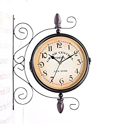 European-Style Double-Sided Wall Clock Mute Movement Iron Living Room Bedroom Clock , 001