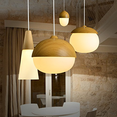 MASO Home, The Modern Elegance Style of Pendant Hanging Lamps, Natural Wood Color Based with Glass Shade Pendant Ceiling Light, Retro Industrial Lamp Vintage Unique Design (Chestnut Shape) by Maso Home (Image #6)