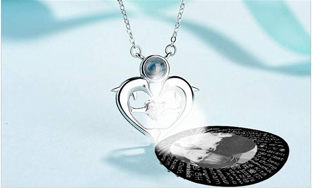 jingH Custom Photo Necklace 100 Languages Projection Necklace The Memory of Love Nanotechnology Necklace
