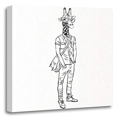 Emvency Painting Canvas Print Artwork Decorative Print Animal Hand Drawn of Giraffe Hipster Human Head Anthropomorphic Body Boy Wooden Frame 16x16 inches Wall Art for Home Decor