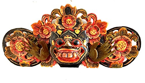(Wood Carved Barong Lion Mask Wall Hanging For Protection And Good Luck African Decor - OMA BRAND)