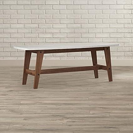 Amazoncom Pryer Oval Marble Coffee Table Wood Legs Walnutwhite