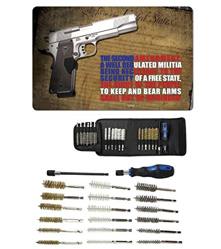 """Ultimate Arms Gear Gunsmith & Armorer's Cleaning Work Bench Gun Rifle Mat 2nd Amendment Right To Bear Arms with 1911 + Deluxe 21 pc Tactical Cleaning Tube Chamber Barrel Care Supplies Kit Handgun Pistol Cleaning Kit in Field Travel Carry Pack Case + Hex Shaft Extension with Lock on End for a Firm Grip Handle for 14"""" Hard To Reach Deep Long Areas + 18 pc Stainless Steel / Nylon / Brass Brushes 9mm, 11mm, 13mm, 15mm, 17mm, & 19mm"""