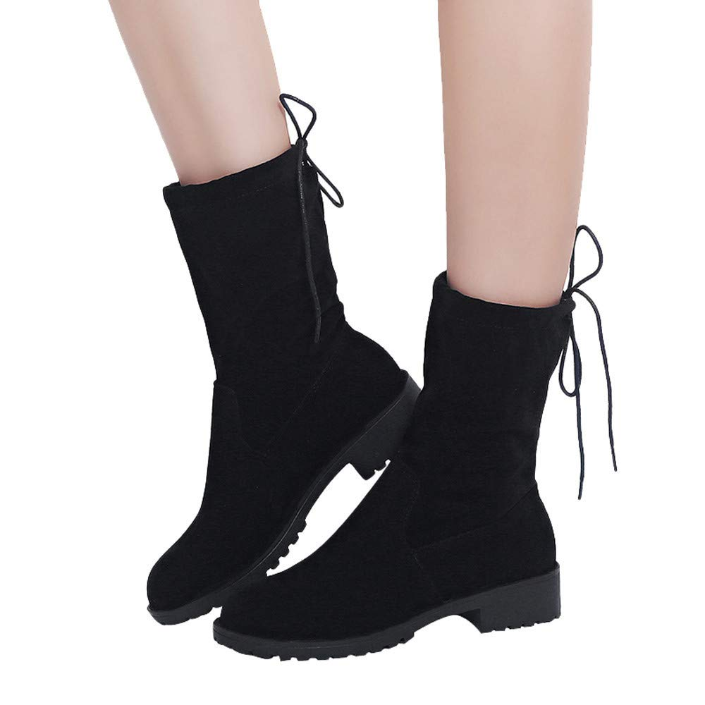 Gyoume Winter Calf Boots,Women Flat Wedge Boots Shoes Martin Boots Shoes Lace-up Boot Shoes
