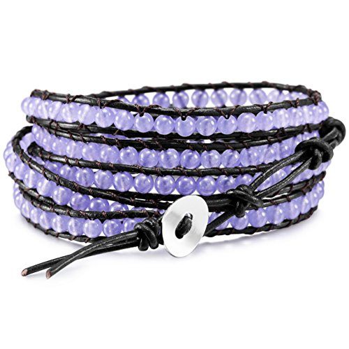 (MOWOM Purple Alloy Genuine Leather Bracelet Bangle Cuff Rope Simulated Crystal Bead 5 Wrap Adjustable)