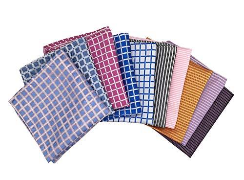 MENDENG Men's 10 Pack Silk Stripeds Plaid Pocket Square Hanky Handkerchief - Square Plaid Pocket