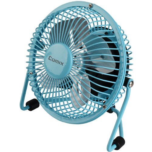 Comix Mini Personal Desktop Fan, 4'', Metal Design, Quiet Operation, Air Radiator for Laptop,USB Cable Powered, Blue (L602) by Comix (Image #1)