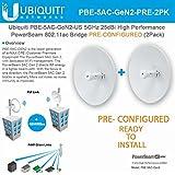 Ubiquiti PowerBeam AC Gen2 5 GHz PBE-5AC-Gen2-US PRECONFIGURED High Performance airMAX (2Pack)