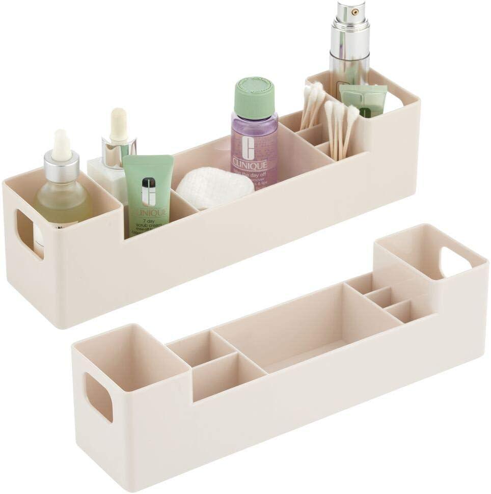 mDesign Caja para medicamentos con asas para el ba/ño Cajas clasificadoras apilables con 7 compartimentos para guardar tiritas o aceites rosa Organizador de ba/ño de pl/ástico sin BPA