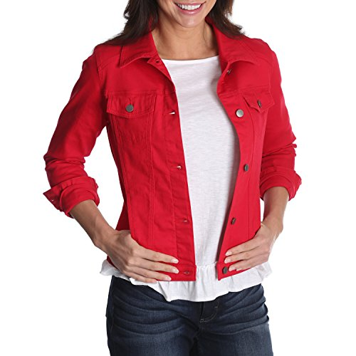 Riders by Lee Indigo Women's Stretch Denim Jacket, Jalapeno Red, Medium