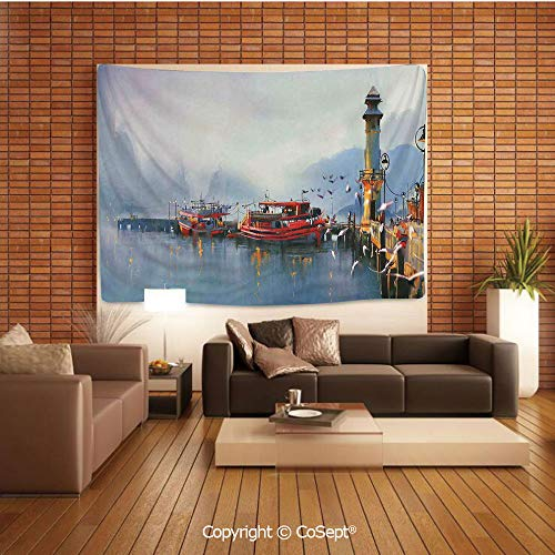 PUTIEN Tapestry Wall Hanging Wall Decor,View of a Misty Morning at The Harbor with Boats and Birds in Old Fishing Town Mod Paint Art,Tapestry Art Print Tapestry for RoomMulti