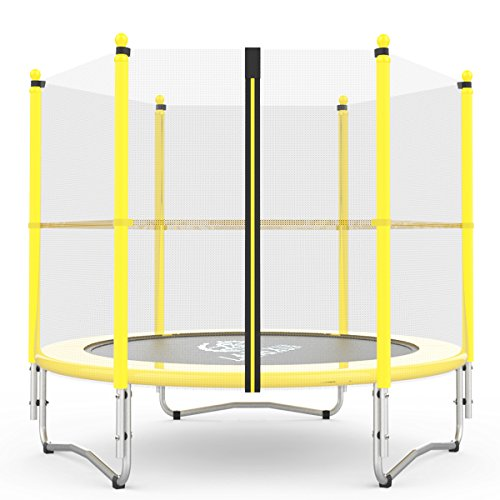 Langxun 5Feet Outdoor & Indoor Trampoline with Enclosure net and Safety Jumping Mat Cover | Birthday Gifts for Kids, Christmas Gifts for Boy and Girl ( Yellow, 60inch ) )